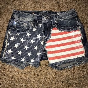 MISS ME American Flag USA Sequin Denim Jean Shorts